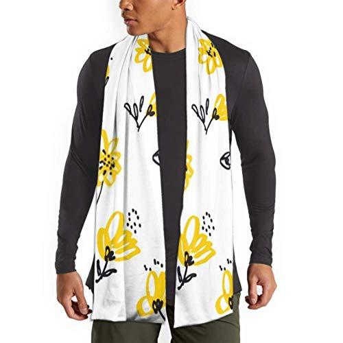 Bufanda de moda de invierno para hombres y mujeres Vintage amarillo floral Seaml patrn Stock largo liso clido suave bufandas para hombres - bufandas de algodn para invierno 7