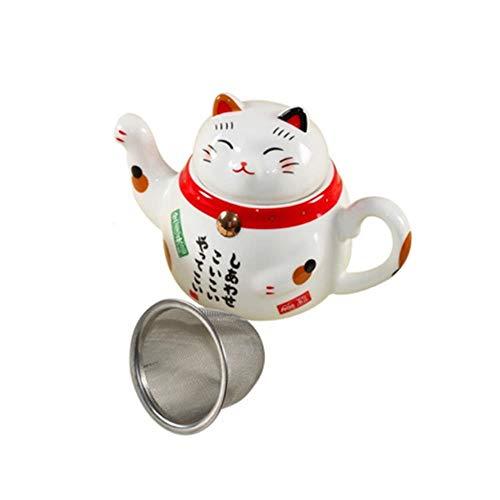 TOSISZ Simpatische theepot van Japans porselein Lucky Cat theepot van keramiek Creative met Lovely Cat Teapot Mok