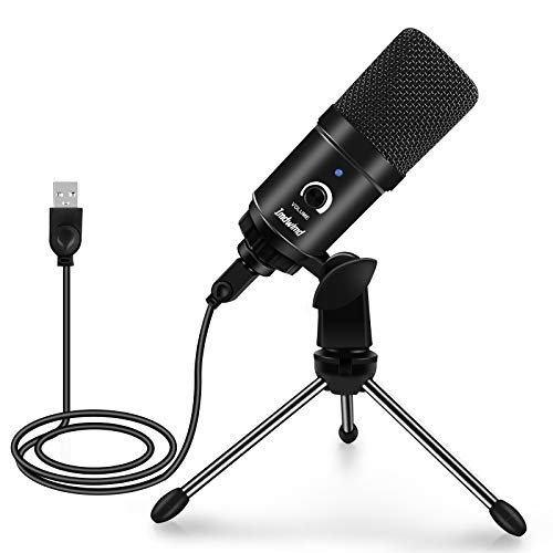 Imdwimd PC Condenser USB Microphone for Computer Recording Gaming Mic Plug and Play 192kHZ/24bit with Desk Tripod for Gaming Podcasting Streaming Compatible with PC PS4 iMac Computer Laptop Desktop