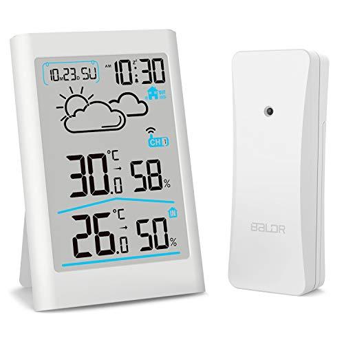 デジタル湿度計 温度計 室内 室外 温湿度計 置き時計 ワイヤレス 最高最低温湿度表示 天気予報計 LCD大画面 バックライト 三つセンサー対応可能 コードレス 高精度 置きかけ式 温度湿度計 健康管理 ESOLOM