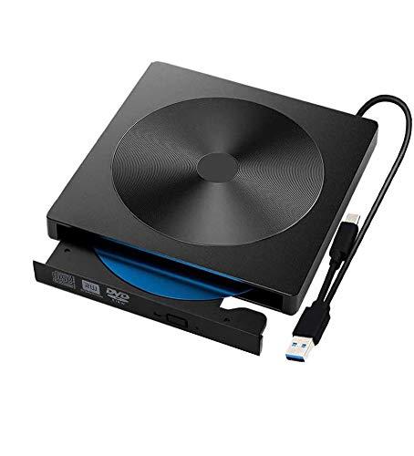 External CD DVD Drive, USB C Writer Type C USB 3.0 CD DVD RAM Burner Combo High Speed Re-Writer for Laptop Notebook PC Desktop Computer (Black)