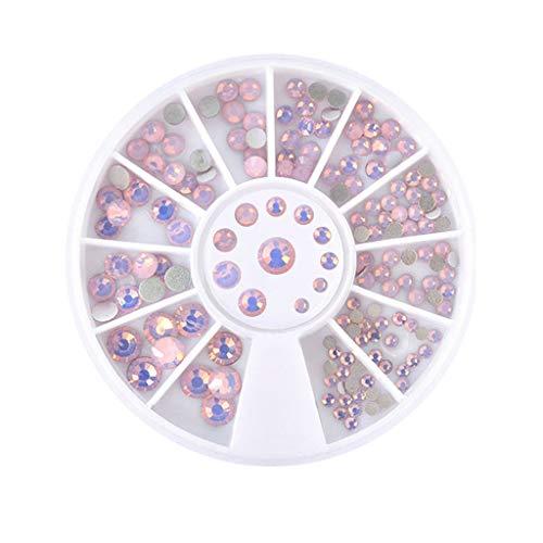 Longra Brillant Diamants Conseils Clou Autocollant Paillettes Coloré Clou Art Décoration 3D conçoivent auto-adhésives Tip Nail Art Stickers autocollants à ongles conseils (Rose)