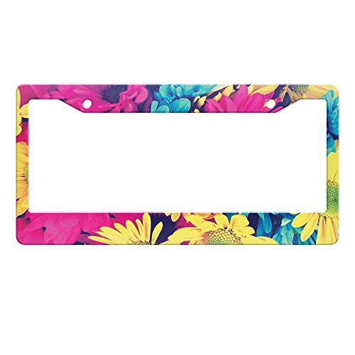 WIRESTER Printed License Plate Frame Decoration Cover for Car Truck SUV Vehicle - Design Vintage Retro Colorful Daisy Flowers