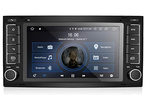 M.I.C. AVT7 Android 10 Autoradio Radio Navigationssystem:DSP DAB+ Plus Bluetooth 5.0 WLAN 7 Zoll QLED Panzerglas Bildschirm AHD 4G RAM 64G ROM USB sd GPS Tuning Gerät für VW T5 Touareg mit RNS 510