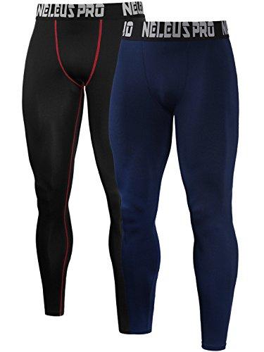 Neleus Men's 2 Pack Active Base Layers Compression Pants,51,Black,Red,L,Tag XL