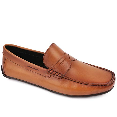 Mens Casual Comfortable Genuine Leather Lightweight Driving Moccasins Classic Fashion Penny Loafer Slip On Breathable Driving Loafer Tan Napa Soft 12