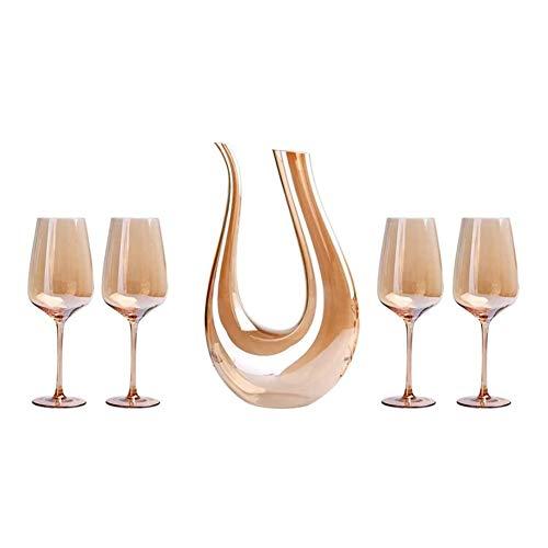 WEIJINGRIHUA Jarra de Whisky Aireador De Vino Decantador, Oro Copa De Vino Juego Incluye 1.5L Jarra Y 4 Copas De Vino, 100% Libre De Plomo Cristal Vino Oxigenación Conjunto, Oro