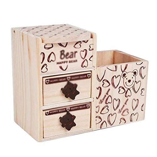 Titular de la pluma, soporte de pluma de madera creativo, cajón doble, caja de almacenamiento superior, cuatro espacio de almacenamiento, forma de oso, color de madera, almacenamiento multifunción Kai