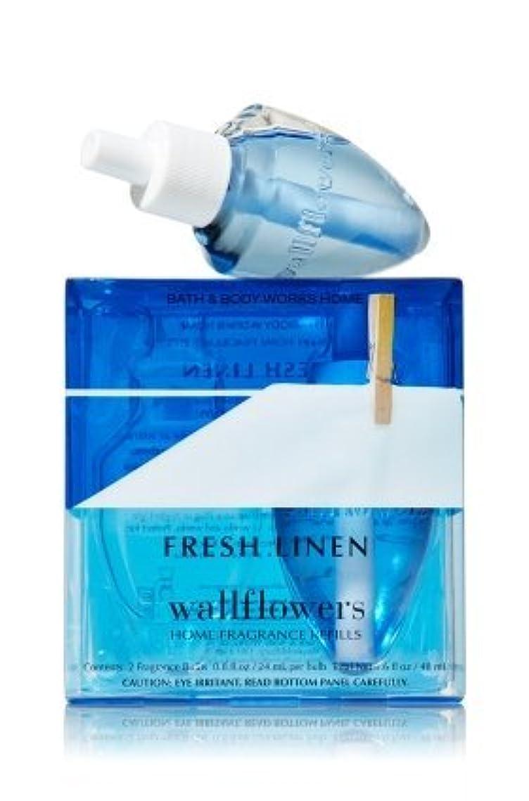 ブラウン寛大なアクティビティ【Bath&Body Works/バス&ボディワークス】 ホームフレグランス 詰替えリフィル(2個入り) フレッシュリネン Wallflowers Home Fragrance 2-Pack Refills Fresh Linen [並行輸入品]