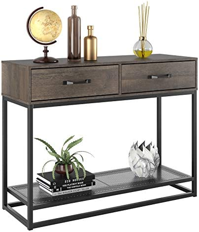 """HOMECHO Console Table, Sofa Table, Industrial Entryway Table with 2 Drawers and Storage Shelf, for Entryway Hallway Living Room (40"""", Dark Brown)"""