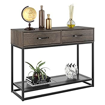HOMECHO Console Table Sofa Table Industrial Entryway Table with 2 Drawers and Storage Shelf for Entryway Hallway Living Room  40  Dark Brown