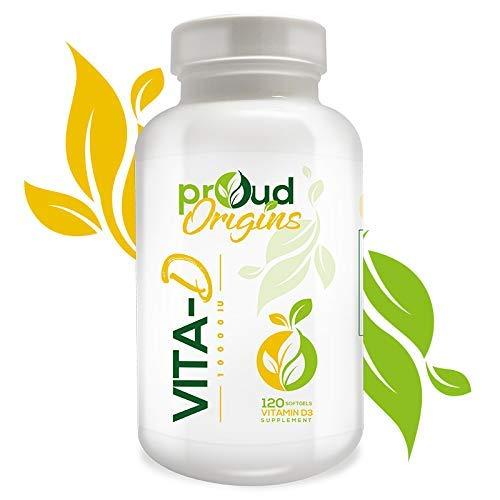 Proud Origins Vita-D 10000IU Vitamin D for Immune Support, Healthy Bones and Teeth,120 Softgels, One Softgel Daily