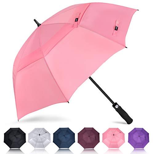 ZOMAKE Golf Regenschirm, Premium Qualität, 157cm Groß, Sturmsicher, Automatik - Automatisch zu öffnen, Regen- und Windresistent Golfschirme (Rosa)