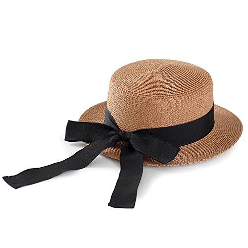 WYYY Chapeau Dame Chapeau De Soleil Grande Circonférence De La Tête Bowknot Fabriqué À La Main par Le Travers Protection Contre Le Soleil (Couleur : Marron)