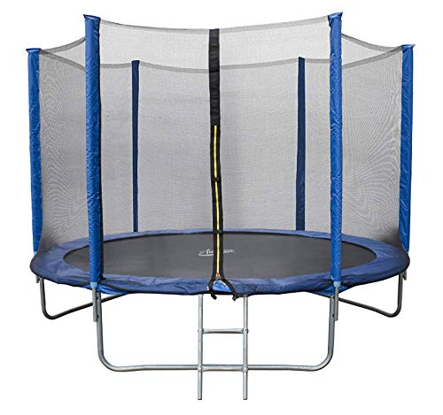 AIRWAVE Outdoor Trampoline With Safety Enclosure For Kids and Children (10ft, Blue)