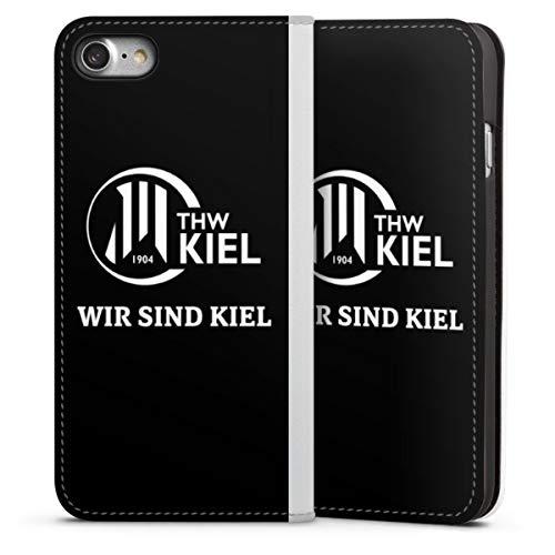 DeinDesign Klapphülle kompatibel mit Apple iPhone 7 Handyhülle aus Leder weiß Flip Case Handball THW Kiel Fanartikel