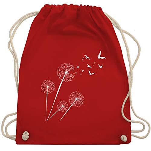 Shirtracer Sprüche Statement mit Spruch - Pusteblume Vögel - Unisize - Rot - turnbeutel pusteblume - WM110 - Turnbeutel und Stoffbeutel aus Baumwolle