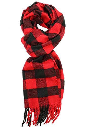 Achillea Scottish Tartan Plaid Cashmere Feel Winter Warm Scarf Unisex (Scottish Black Red Buffalo)