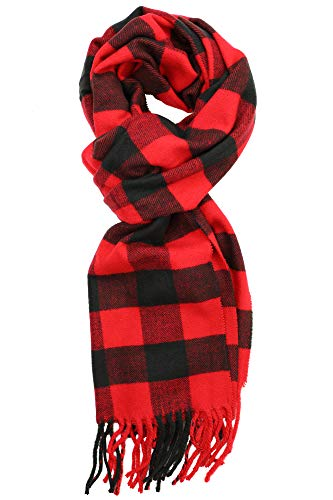 Achillea Scottish Tartan Plaid Cashmere Feel Winter Warm Scarf Unisex (Scottish Black Red Buffalo)