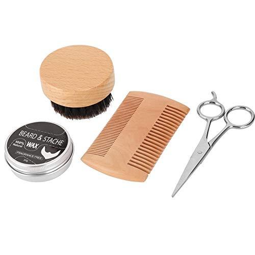 Baardkit voor mannen, 4-delige professionele baardverzorging Baardverzorging, mannenhaar snor Borstel Baardkam Schaar, Exclusief baardverzorging Styling Tool(1#)