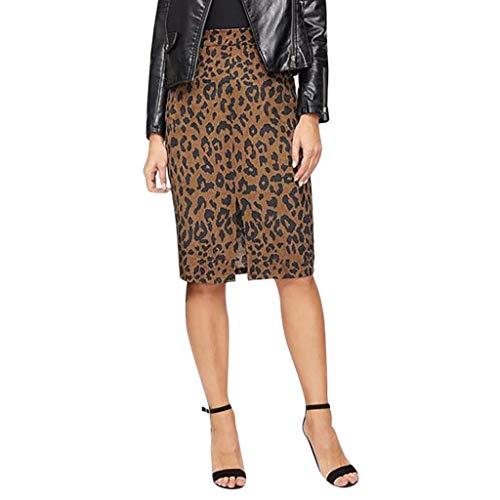 Zarupeng Leopard Bleistiftrock Damen Split Hüftrock mit Taschen und Reißverschluss Dünne Knielang Business Kurze Rock