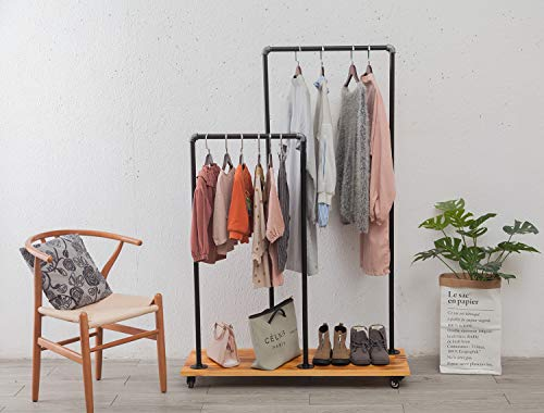 GIMHAI HOME Industrial Heavy Duty Hanging Clothes RackPipe Double Rod Garment Rack with Wheels - Parent-Child Rolling Clothing Rack – Steampunk Clothes Racks for Hanging Clothes - Solid Wood