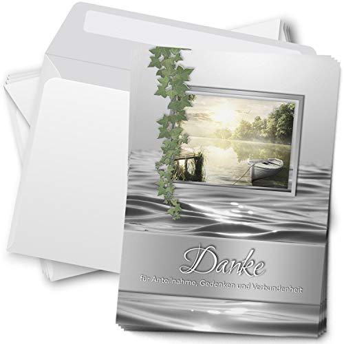 Trauer Danksagungskarten mit Umschlag   Motiv: Efeu See, 15 Stück   Dankeskarten DIN A6 Set   Trauerkarten Danksagung Danke sagen