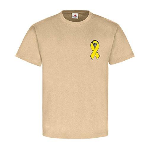 Gelbe Schleife mit Bundeswehrkreuz EK Bw Solidarität mit unseren - T Shirt #5443, Farbe:Sand, Größe:Herren M