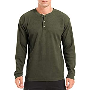 Men's Henley Shirt Casual Long Sleeve Lightweight Waffle Henley T-Shirts