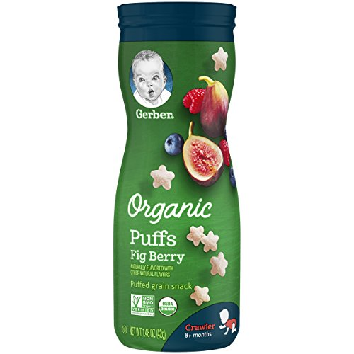Gerber Organic Puffs Cereal Snack, 6 Count, Fig Berry 8.88 Ounce
