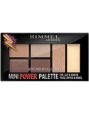 Rimmel London, Mini Power Palette 3 in 1 con Ombretti per Occhi ed Illuminanti Viso e Labbra, 001 Fearless