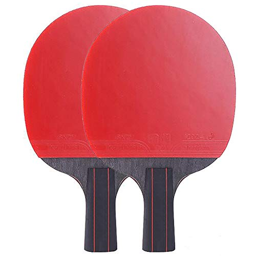 Best Prices! ANJING Carbon Fiber Table Tennis Paddle Set of 2, Ping Pong Paddle with Rubber Grips fo...