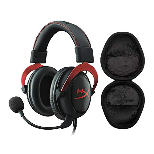 Kingston HyperX Cloud II Gaming Headset (Red) with Knox Gear Hard Shell Headphone Case Bundle (2 Items)