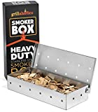 Grillaholics Smoker Box, Top Meat Smokers Box in Barbecue Grilling Accessories, Add Smokey BBQ Flavor on Gas Grill or Charcoal Grills with This Stainless Steel Wood Chip Smoker Box (Renewed)
