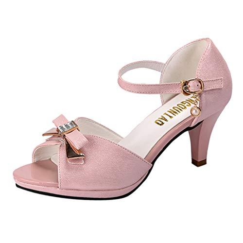 Zapatos de Vestir Elegantes Tacones Altos Casuales para Mujer Zapatos de Diamantes de ImitacióN Hebilla Sandalias con Lazo Zapatos de Verano con Boca Abierta Y Punta Abierta Dorado Blanco 34-40 EU