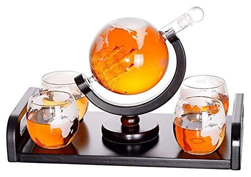 JIUYUE Whiskey Carafe 1000 ML Globo de la Boca soplado y 4 Gafas Conjunto de 300 ml de Vidrio Decanter Gin Sloe Sloe Botella de Cristal Liqueur Schnapps Decantador de Vino Licorera
