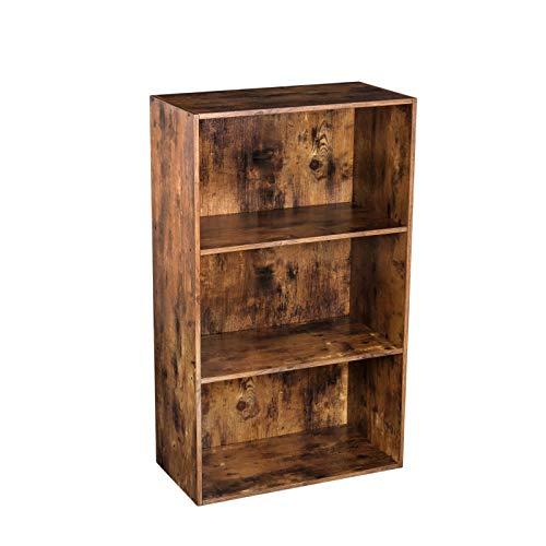 HOOBRO Bücherregal mit 3 Fächern, Bücherschrank aus Holz, Standregal, Ablageregal im Industriestil, Vitrine für Wohnzimmer, Schlafzimmer, Kinderzimmer, Dunkelbraun EBF03SG01