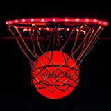 GlowCity Light Up LED Rim Kit with LED Basketball Included - RED, Size 7 Basketball (Official Size)