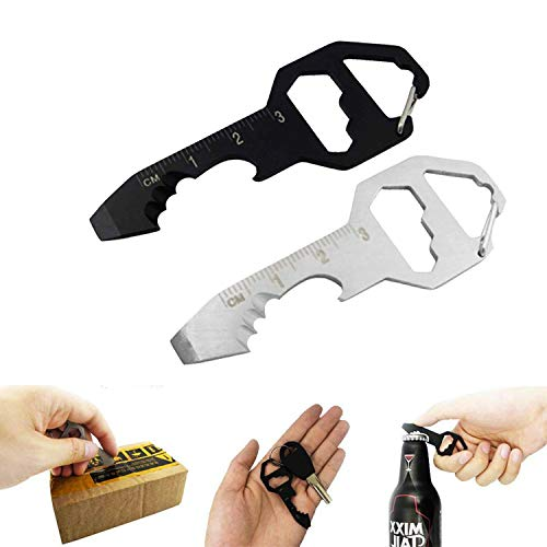 2PCS Keychain Bottle Opener Multi Tool, 100% Stainless Steel edc Gadget, 6 Tools in 1 [Bottle Opener, Wrench, Screw Driver, Metric Ruler,Cord Cutter] Universal Everyday Carry Pocket and Backpack Tool