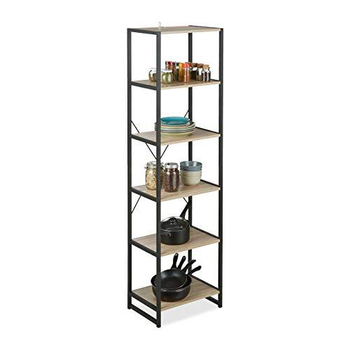 Relaxdays Estantería de pie, Diseño Industrial, Librería con Seis estantes, 180x50x35 cm, Roble/Metal, Marrón