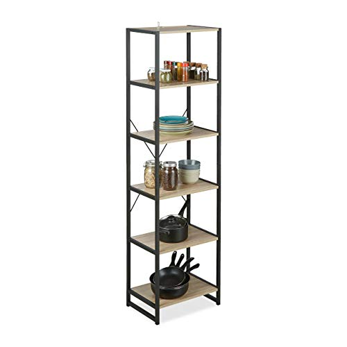 Relaxdays Standregal, hohes Bücherregal mit 6 Fächern, Regal Industrial Design, HxBxT: 180x50x35 cm, PB/Metall, braun