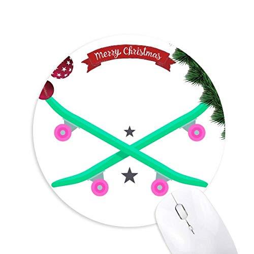 Winter Sport Skifahren Skateboard Pink Green Round Rubber Maus Pad Weihnachtsbaum Mat