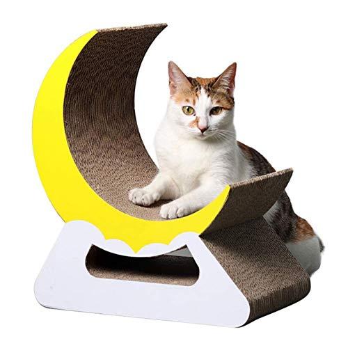 RUIXFLR Almohadillas para Rascar Creativas con Forma De Luna para Gatos, Tablero para Rascar De Cartón Corrugado para Gatos, Cama para Gatos, Brown