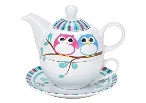 Tea for One - Juego de té (tetera, taza y plato), diseño de búho