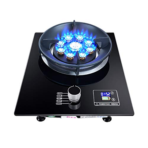 HJJ Estufa de Gas portátil, cocción en la Mesa de 7.0kw, Cocina de Vidrio Negro 43x33x15cm con Control de Temperatura para el hogar, Camping y Cocina de Caravana [Clase energética A] (Color : LPG)