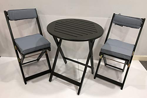Greenhurst GARDEN BISTRO SET FOLDING GARDEN TABLE AND CHAIRS FOLDING WITH CUSHIONS FSC HARDWOOD GREY OILED FINISH