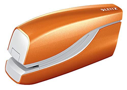 Leitz 55661044 Elektrisches Heftgerät (10 Blatt, Metall mit Kunststoffelementen, Inkl. Heftklammern, Wow) orange metallic