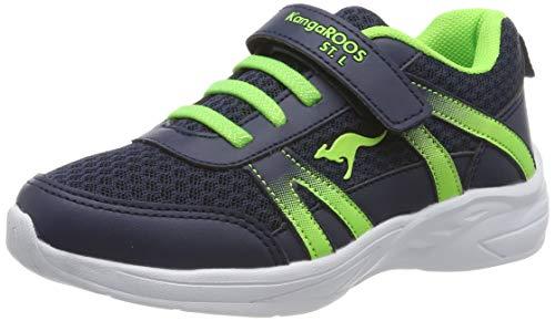 KangaROOS Unisex-Kinder Inko EV Sneaker, Blau (Dk Navy/Lime 4054), 29 EU
