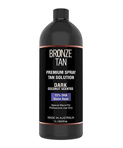 Bronze Tan Special DARK Blend Premium Spray Tan Solution For Spray Tanning Professionals - Coconut Scented Sunless Tanning Solution (1 Liter / 33.8 FL OZ)