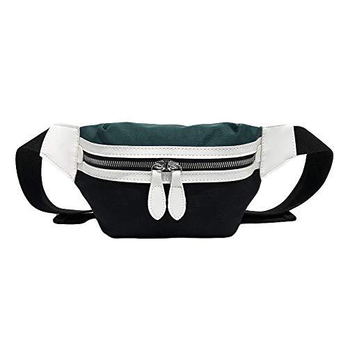 perlo33ER Mujer Canvas Color Block Stripe Zipper Mini Crossbody Chest Bag Cintura Riñonera - Verde Negro